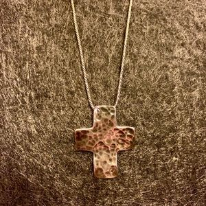 Silpada Hammered Cross Necklace .925 Sterling
